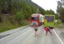 Латвийский водитель предотвратил трагедию в Норвегии (видео)