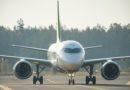 В Лиепайском аэропорту приземлился авиалайнер Airbus A220-300