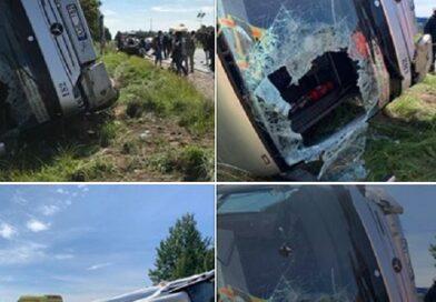 Авария на шоссе Лиепая-Руцава: перевернулся автобус, пострадали девять человек