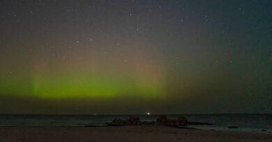 На побережье Балтийского моря можно было наблюдать северное сияние